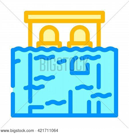 Flood Disaster Color Icon Vector. Flood Disaster Sign. Isolated Symbol Illustration