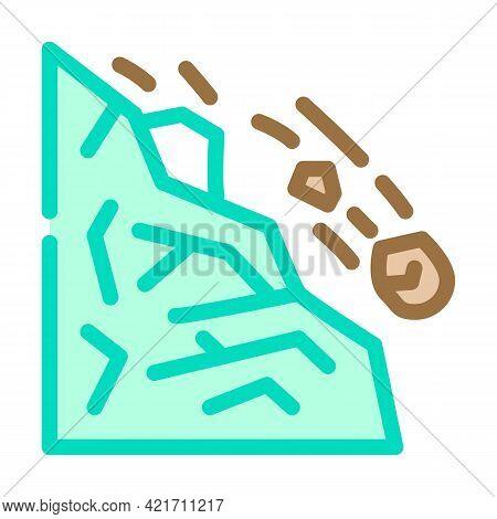 Landslide Disaster Color Icon Vector. Landslide Disaster Sign. Isolated Symbol Illustration