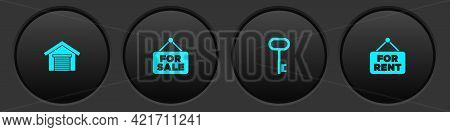Set Garage, Hanging Sign With For Sale, House Key And Rent Icon. Vector