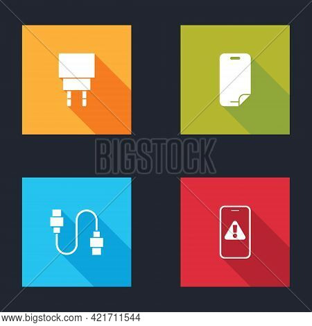 Set Charger, Glass Screen Protector, Usb Cable Cord And Mobile With Exclamation Mark Icon. Vector