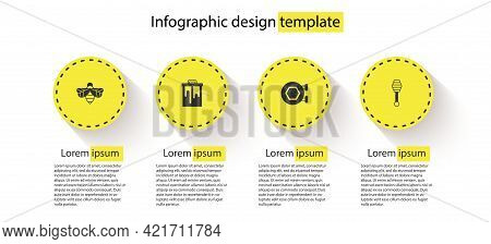 Set Bee, Honeycomb, Hanging Sign With Honeycomb And Dipper Stick. Business Infographic Template. Vec