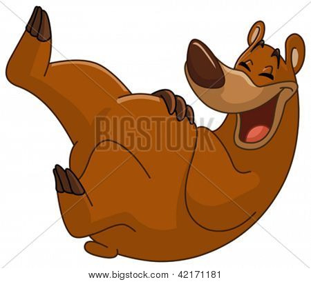 Bear rolling on the floor laughing
