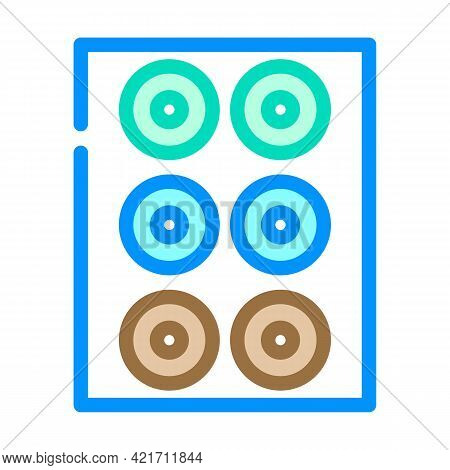 Lenses Set Of Different Colors Color Icon Vector. Lenses Set Of Different Colors Sign. Isolated Symb