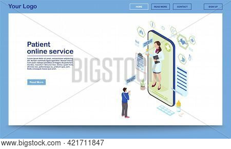 Patient Support Online Service Isometric Homepage Template. Remote Medical Consultant Prescribing Pi