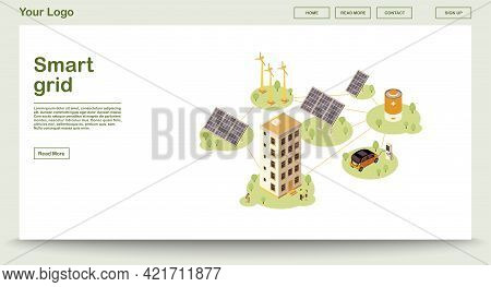 Electric Charge Station Webpage Vector Template With Isometric Illustration. Smart Grid. Solar, Wind
