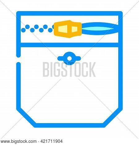 Zipper Lock Pocket Color Icon Vector. Zipper Lock Pocket Sign. Isolated Symbol Illustration
