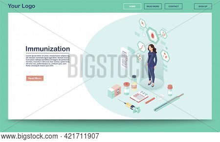 Immunization Webpage Vector Template With Isometric Illustration. Patient Vaccination. Vaccination S