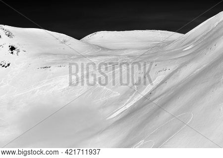 Snow Off-piste Slope With Traces Of Skis, Snowboards And Avalanches. Caucasus Mountains In Winter, G