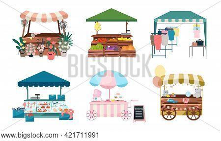 Market Stalls Flat Vector Illustrations Set. Fair, Funfair Trade Tents, Outdoor Kiosks And Carts. St
