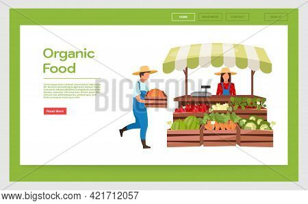 Organic Food Landing Page Vector Template. Farmers Market Stall Website Interface Idea With Flat Ill