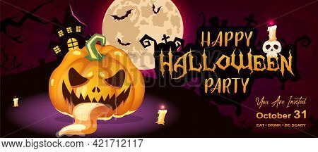 Happy Halloween Party Flat Banner Vector Template. October Holiday Event Invitation Design Layout. S