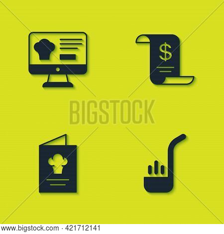 Set Online Ordering And Delivery, Kitchen Ladle, Cookbook And Paper Financial Check Icon. Vector