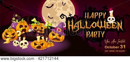 Happy Halloween Event Flat Banner Template. Autumn Holiday Night Party Invitation Card Design Layout