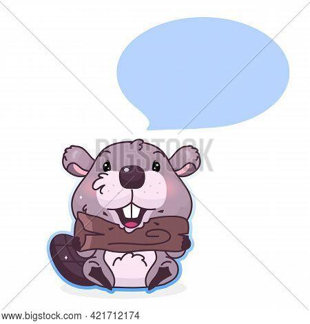 Cute Beaver Cartoon Kawaii Vector Character. Forest Animal With Empty, Blank Speech Bubble. Beaver B