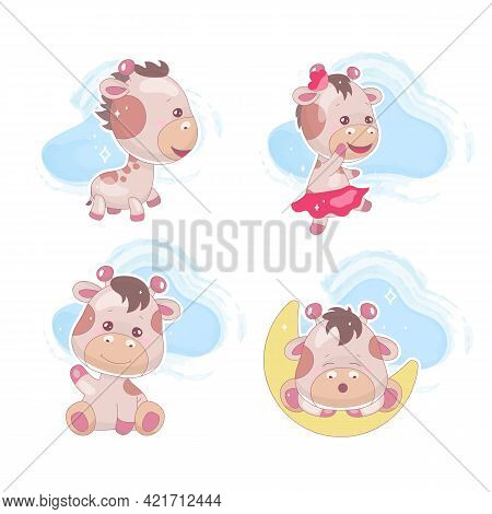 Cute Giraffe Kawaii Cartoon Vector Characters Set. Adorable And Funny Dreaming Animal With Clouds Is