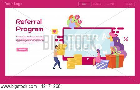 Referral Program Landing Page Vector Template. Social Sharing, Refer A Friend Website Interface Idea