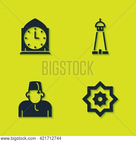 Set Clock, Octagonal Star, Muslim Man And Mosque Tower Or Minaret Icon. Vector