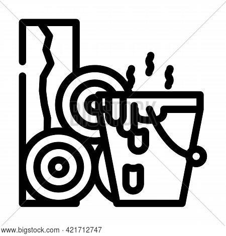 Bitumen Building Material Line Icon Vector. Bitumen Building Material Sign. Isolated Contour Symbol