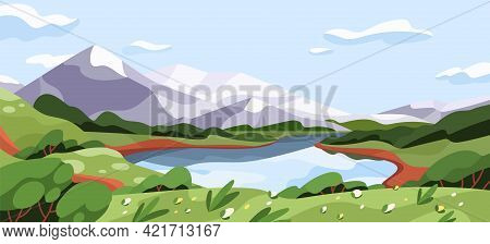 Scenic Summer Landscape With Mountains, Lake, And Meadow In Clear Weather. Panoramic Scenery Of Wild
