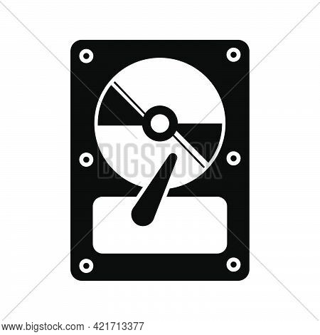Simple Illustration Of Compact Disk Or Hard Drive Disc Personal Computer Component Icon. Flat Style
