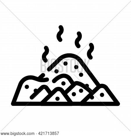Pile Compost Line Icon Vector. Pile Compost Sign. Isolated Contour Symbol Black Illustration