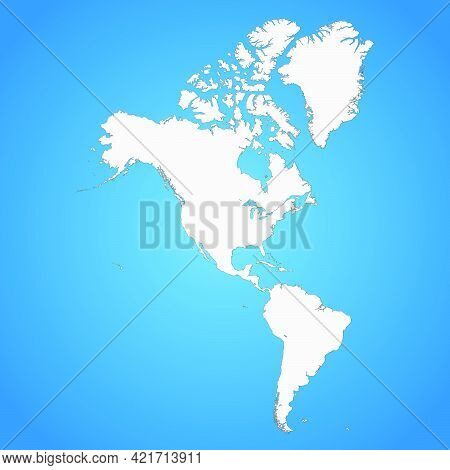 The Political Detailed Map Of The Continent Of America With Borders Of Countries