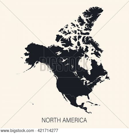 The Political Detailed Map Of The Continent Of North America With Borders