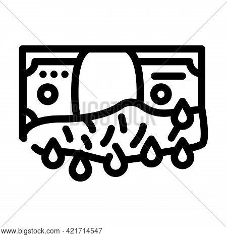 Bloody Money Line Icon Vector. Bloody Money Sign. Isolated Contour Symbol Black Illustration