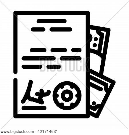 Purchase Of Documents Line Icon Vector. Purchase Of Documents Sign. Isolated Contour Symbol Black Il