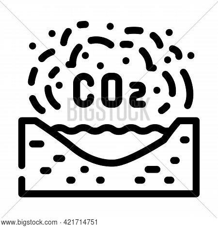 Limnological Disaster, Emission Of Carbon Dioxide In Reservoir Line Icon Vector. Limnological Disast