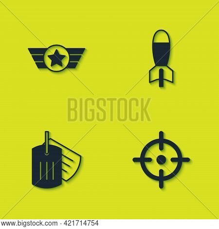 Set Star American Military, Target Sport, Military Dog Tag And Rocket Launcher Icon. Vector