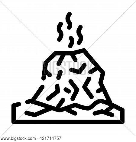 Eruption Disaster Line Icon Vector. Eruption Disaster Sign. Isolated Contour Symbol Black Illustrati