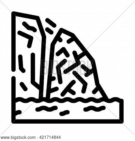 Breakaway Iceberg Disaster Line Icon Vector. Breakaway Iceberg Disaster Sign. Isolated Contour Symbo