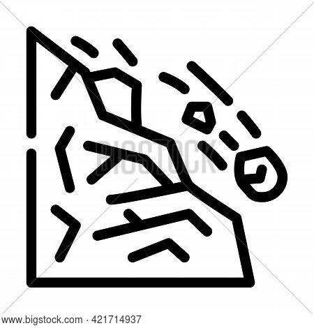 Landslide Disaster Line Icon Vector. Landslide Disaster Sign. Isolated Contour Symbol Black Illustra