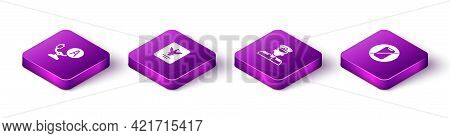 Set Isometric Aircraft Steering Helm, Passport, Pilot And No Cell Phone Icon. Vector