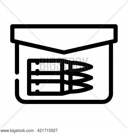 Bullet Pocket Line Icon Vector. Bullet Pocket Sign. Isolated Contour Symbol Black Illustration