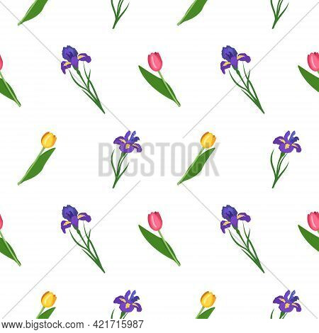 Cute Seamless Pattern Of Iris And Tulips Flowers. Bright Spring And Summer Print With Green Leaves.