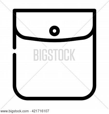 Button Closed Pocket Line Icon Vector. Button Closed Pocket Sign. Isolated Contour Symbol Black Illu