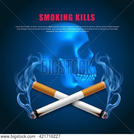Stop Smoking Campaign Illustration No Cigarette For Health Two Cigarettes Scary Skull Dark Blue Back