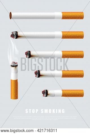 Stop Smoking Campaign Illustration No Cigarette For Health Cigarettes In Different Length