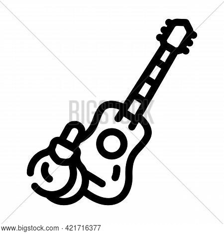 Guitar And Castanets Line Icon Vector. Guitar And Castanets Sign. Isolated Contour Symbol Black Illu