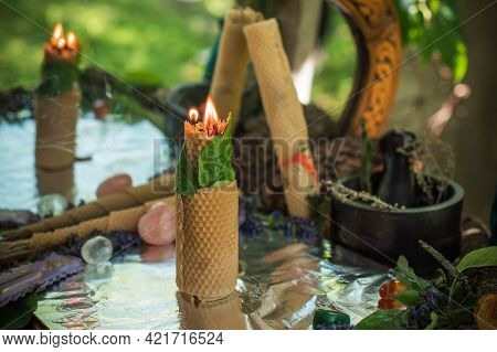 Love Magic Nature Altar Candle Burns With Herbs, Magic Among Candles, Attract Love, Positive Energy