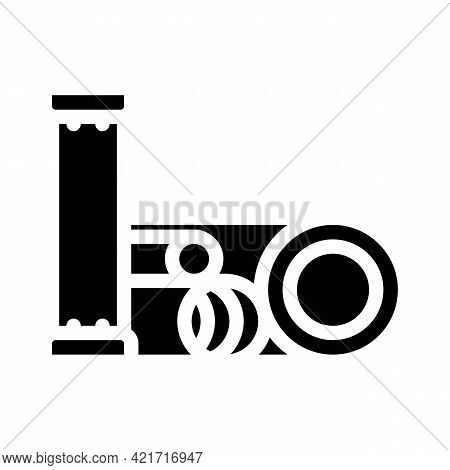 Pipes Building Material Glyph Icon Vector. Pipes Building Material Sign. Isolated Contour Symbol Bla