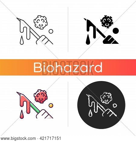 Blood Icon. Hospital Waste Transmitting Infectious Material. Biological Risk For People Health. Biom