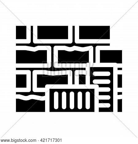 Brick Building Material Glyph Icon Vector. Brick Building Material Sign. Isolated Contour Symbol Bla