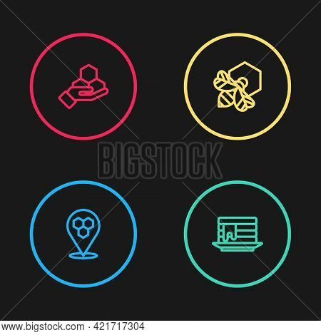 Set Line Honeycomb Bee Location, Stack Of Pancakes, Bee And Honeycomb And Hand Icon. Vector