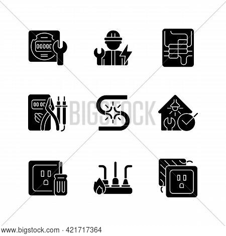 Electrician Service Black Glyph Icons Set On White Space. Electrical Meter Repair. Circuit Breaker P