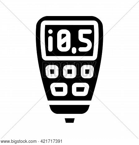 Thickness Gauge Device Glyph Icon Vector. Thickness Gauge Device Sign. Isolated Contour Symbol Black