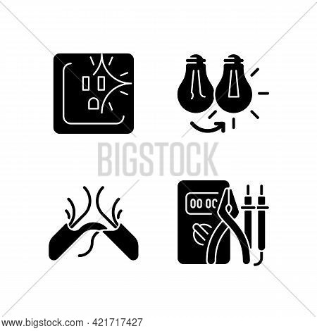 Electrician Service Black Glyph Icons Set On White Space. Sparking Outlet. Changing Lightbulb. Fraye