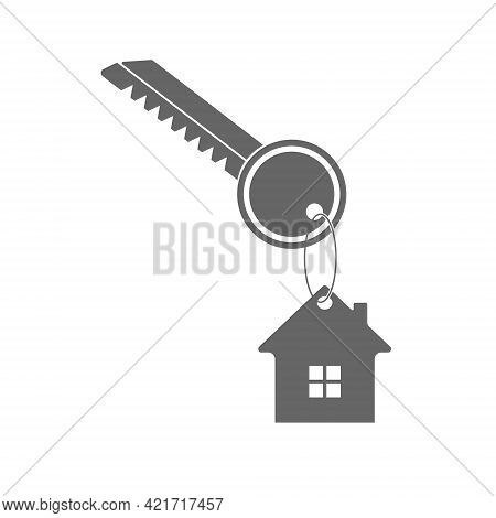 Key To The House. A Key With A Keychain In The Form Of A House. Flat Style.